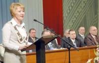 Л.Яковлева на трибуне VIII Всемарийского съезда