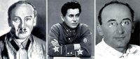 Слева направo:  Г.Г. Ягода, Н.И. Ежов, Л.П. Берия