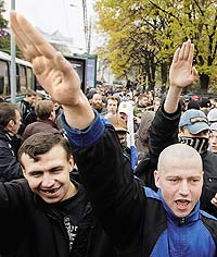 Сегодня националисты ушли с улиц, но деятельность свою не прекратили. Фото: AP. SERGEY PONOMAREV
