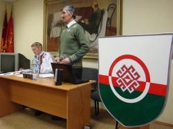 Рабочий президиум отчетно-выборной конференции РОО «Марий ушем» («Союз мари»).