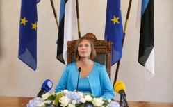 Newly-elected Estonia's President Kaljulaid listens during a news conference after the vote in the country's Parliament in Tallinn