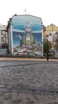 Модное оформление скучных зданий-художественный мурал в г.Киев.